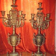 Antigüedades: PAREJA DE CANDELABROS ANTIGUOS BASE MARMOL ONIX. Lote 33660509