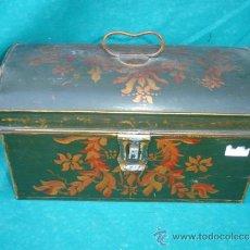 Antigüedades: PEQUEÑO BAUL DE LATON POLICROMADO. Lote 33664067