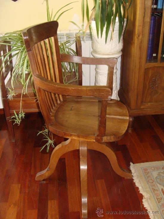 Mueble antiguo sill n silla giratoria de ofic comprar for Antiguedades de oficina