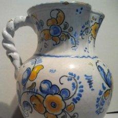 Antigüedades: JARRA DE CERÁMICA CON ASA DE CORDÓN. MARCAS TALAVERA SASO.. Lote 33712195