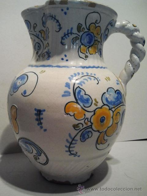 Antigüedades: Jarra de cerámica con asa de cordón. Marcas Talavera Saso. - Foto 2 - 33712195