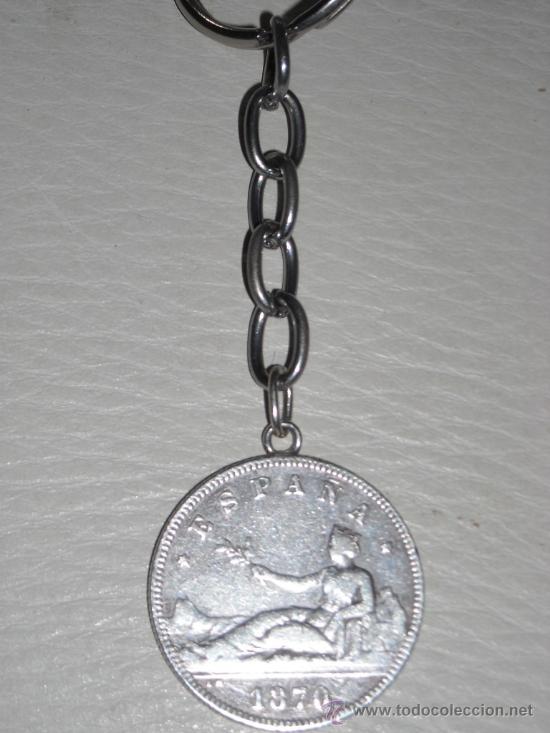 MONEDA DE 2 PESETAS PLATA, GOBIERNO PROVISIONAL AÑO 1870, LLAVERO (Antigüedades - Moda y Complementos - Hombre)
