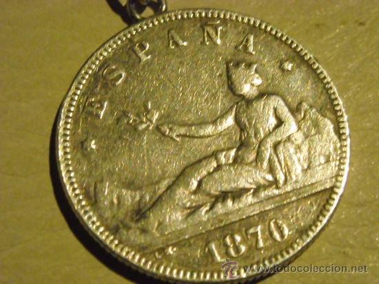 Antigüedades: moneda de 2 pesetas plata, gobierno provisional año 1870, llavero - Foto 2 - 33725149