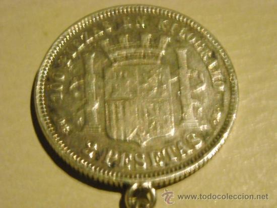 Antigüedades: moneda de 2 pesetas plata, gobierno provisional año 1870, llavero - Foto 3 - 33725149