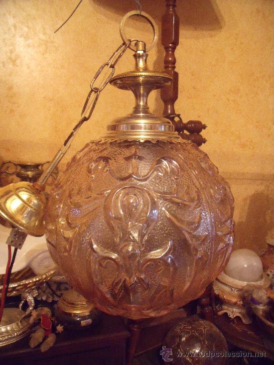 Antigüedades: ANTIGUA LAMPARA DE GLOBO MODERNISTA CON CRISTAL TALLADO DE COLOR CARAMELO - Foto 2 - 33725248