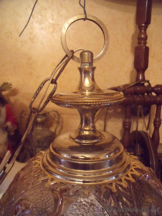 Antigüedades: ANTIGUA LAMPARA DE GLOBO MODERNISTA CON CRISTAL TALLADO DE COLOR CARAMELO - Foto 3 - 33725248
