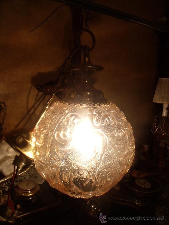 Antigüedades: ANTIGUA LAMPARA DE GLOBO MODERNISTA CON CRISTAL TALLADO DE COLOR CARAMELO - Foto 5 - 33725248