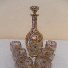 Antigüedades: CRISTAL MALLORQUÍN. CONJUNTO DE BOTELLA Y 6 COPAS. FABRICADO Y FIRMADO POR GORDIOLA. MALLORCA.. Lote 79493557