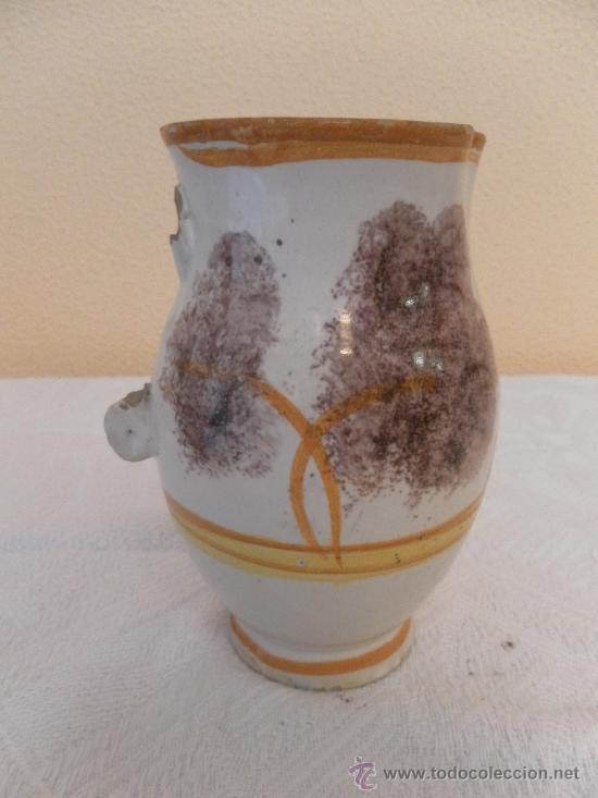 Antigüedades: Jarra. Cerámica de Ribesalbes. Serie esponja. - Foto 3 - 33781553