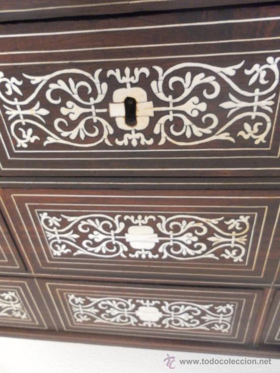 Antigüedades: Arquilla papelera. Hispano filipina. Siglo XVIII. De jacaranda o palisandro de rio, con marquetería - Foto 10 - 33780861