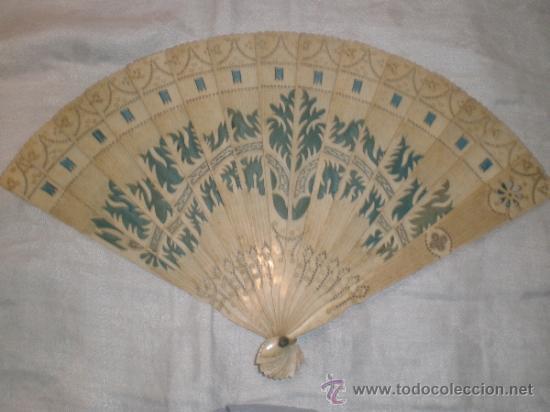 ABANICO DE HUESO (Antigüedades - Moda - Abanicos Antiguos)