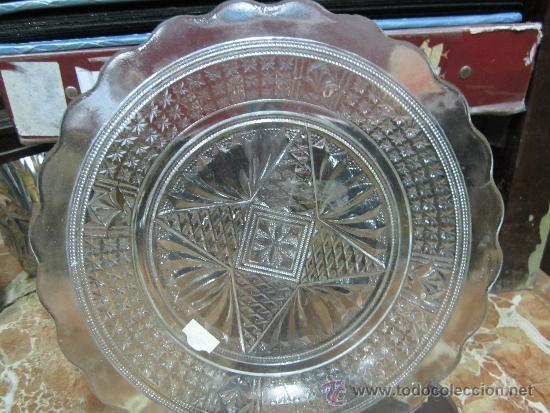 GRAN PLATO DE CRISTAL DE CARTAGENA PRENSADO (Antigüedades - Cristal y Vidrio - Santa Lucía de Cartagena)