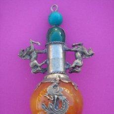 Antigüedades: SNUFF O PERFUMERO CHINO S XIX EN JADE, PLATA Y ESMALTES. 19,7 CMS ALTURA. . Lote 33908861