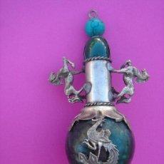 Antigüedades: SNUFF O PERFUMERO CHINO S XIX EN JADE, PLATA Y ESMALTES. 19,7 CMS ALTURA. . Lote 33909275