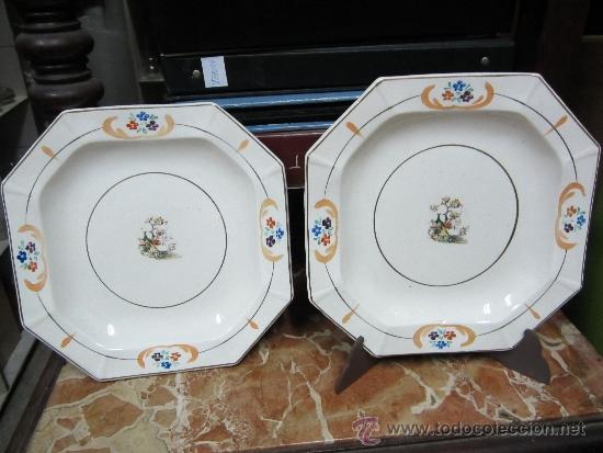 PAREJA DE PLATOS DE SAN CLAUDIO OVIEDO (Antigüedades - Porcelanas y Cerámicas - San Claudio)