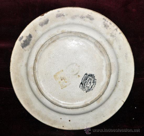 Antigüedades: INTERESANTE PLATO EN CERÁMICA DE LA FABRICA LA AMISTAD DE CARTAGENA - Foto 4 - 33939548