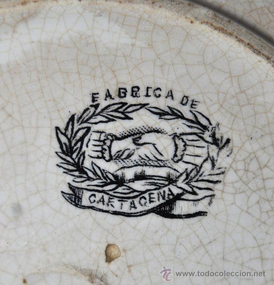 Antigüedades: INTERESANTE PLATO EN CERÁMICA DE LA FABRICA LA AMISTAD DE CARTAGENA - Foto 5 - 33939548