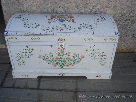 Baul de madera fina y pintado a mano comprar ba les antiguos en todocoleccion 33952601 - Baules pintados a mano ...