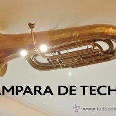 Antigüedades: LAMPARA DE TECHO HECHA CON UNA TUBA GRANDE. Lote 33988167