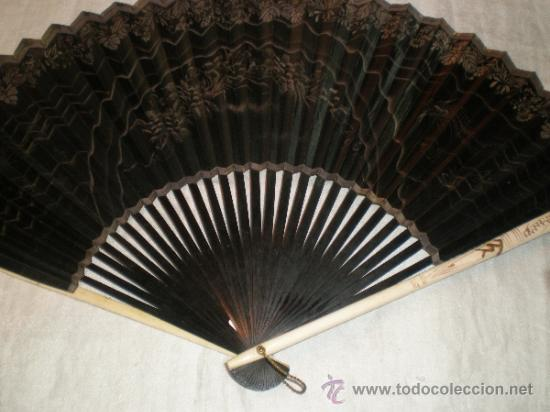 ABANICO DE MADERA Y HUESO CHINO (Antigüedades - Moda - Abanicos Antiguos)
