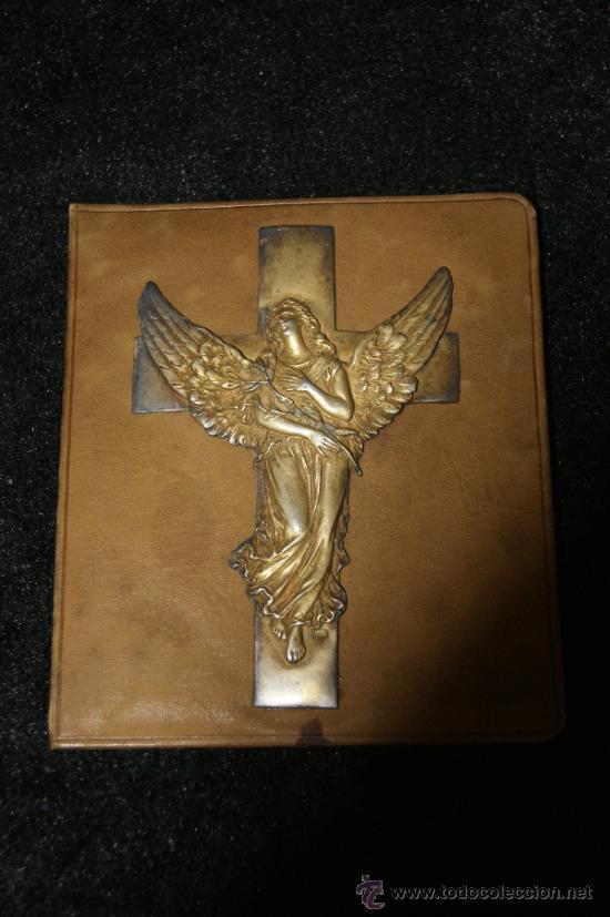 ANTIGUA IMAGEN RELIGIOSA EN PLATA DORADA SOBRE BASE, SELLO TRASERO MILAN 1913 (Antigüedades - Religiosas - Orfebrería Antigua)