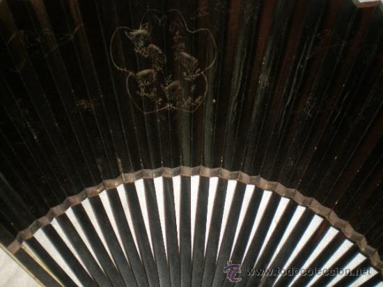 Antigüedades: abanico de madera y hueso chino - Foto 7 - 34011494