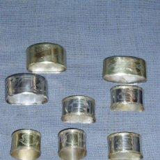 Antigüedades: LOTE DE 10 SERVILLETEROS ANTIGÜOS DE METAL PLATEADO Y DORADO. Lote 34016690
