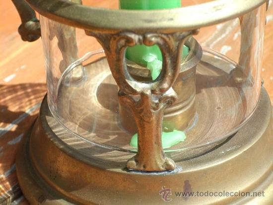 Antigüedades: CANDELABRO,PORTAVELAS,PALMATORIA DE BRONCE Y CRISTAL. - Foto 3 - 34018919