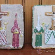 Antigüedades: PAREJA DE AZULEJOS EN BARRO COCIDO VIDRIADOS DE SEMANA SANTA MALAGUEÑA ANTIGUA COLONIA SANTA INES. Lote 44463547