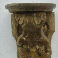 Antigüedades: MÉNSULA O PEANA ANTIGUA -S. XVIII- DE RETABLO, EN PAN DE ORO. DIM.-18X43X15,5X13 CMS.. Lote 34056780