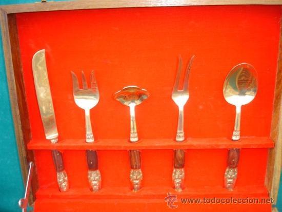 Antigüedades: cubiertos de metal dorado tailandes - Foto 4 - 34059587