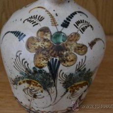 Antigüedades: ANTIGUA ALCUZA, ACEITERA, JARRA CON DECORACION FLORAL DE PUENTE DEL ARZOBISPO. Lote 34065120
