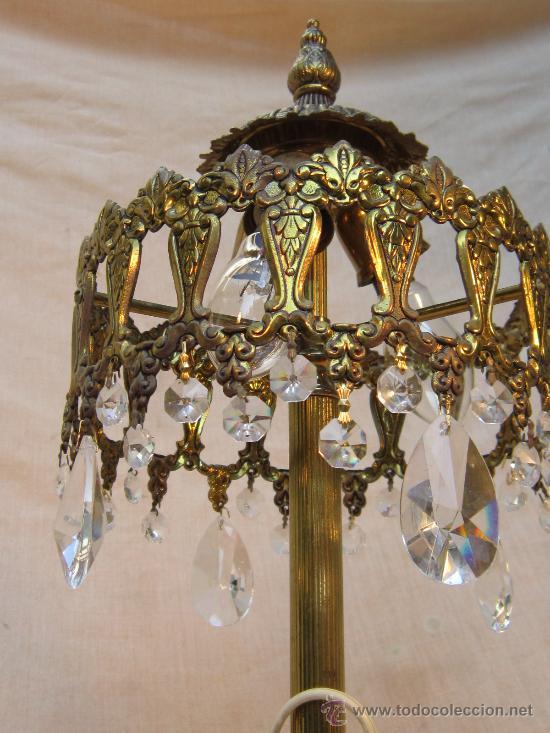 Antigüedades: LAMPARA DE MESA EN BRONCE CON CRISTALES - Foto 3 - 34072065