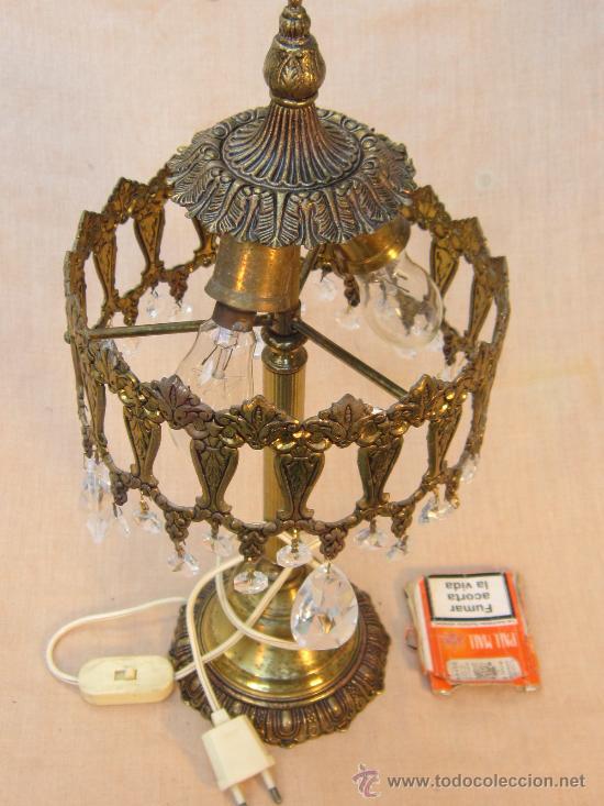 Antigüedades: LAMPARA DE MESA EN BRONCE CON CRISTALES - Foto 4 - 34072065