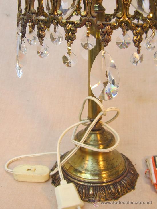 Antigüedades: LAMPARA DE MESA EN BRONCE CON CRISTALES - Foto 6 - 34072065