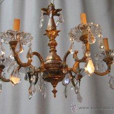 Antigüedades: LAMPARA DE TECHO EN BRONCE CON CRISTALES. Lote 34072266
