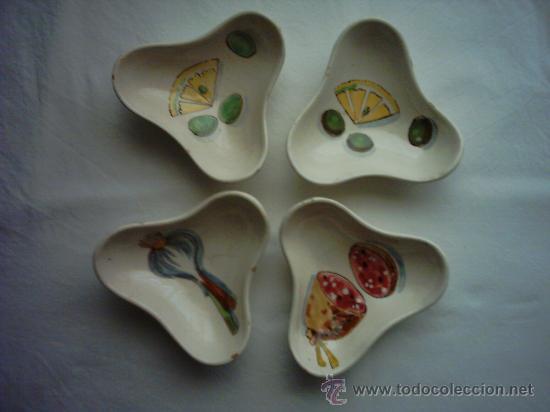 VIEJAS ENTREMESERAS DE CERÁMICA PINTADAS A MANO. 15 X 15 X 5 CM. (Antigüedades - Porcelanas y Cerámicas - Otras)