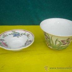 Antigüedades: TAZON Y TAZA DE PORCELANA ORIENTAL. Lote 34087407