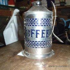 Antigüedades: TARRO DE CAFE DE ALPACA INTERIOR VASO DE CRISRAL AZUL. Lote 34090946