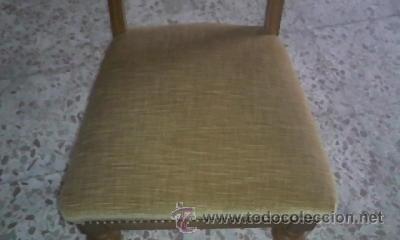 Antigüedades: Antigua silla de roble con tapizado de terciopelo en color mostaza.Madera torneada.. - Foto 4 - 36881399