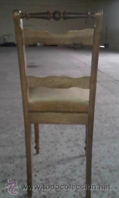 Antigüedades: Antigua silla de roble con tapizado de terciopelo en color mostaza.Madera torneada.. - Foto 6 - 36881399
