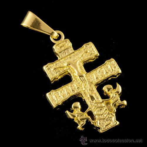 CRUZ DE CARAVACA BAÑO ORO 18 KILATES (Antigüedades - Religiosas - Cruces Antiguas)