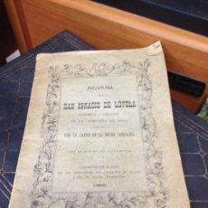 Antiguidades: NOVENA A SAN IGNACIO DE LOYOLA 1896. Lote 171511567