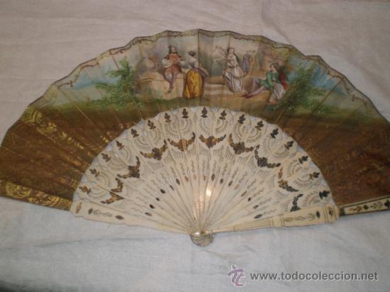 ABANICO DE HUESO Y ORO ISABELINO (Antigüedades - Moda - Abanicos Antiguos)