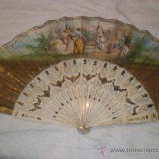 Antigüedades: ABANICO DE HUESO Y ORO ISABELINO. Lote 34126814