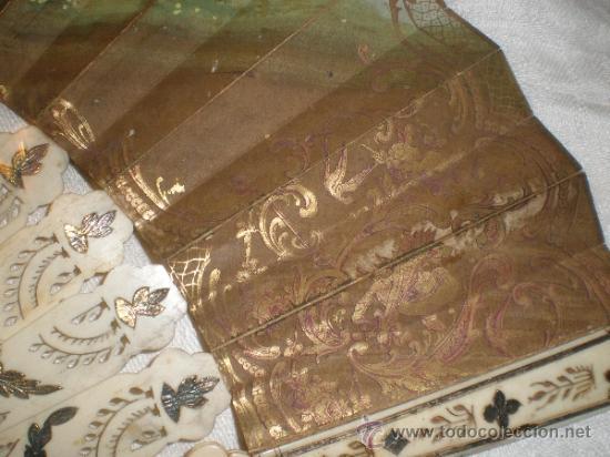 Antigüedades: abanico de hueso y oro isabelino - Foto 13 - 34126814