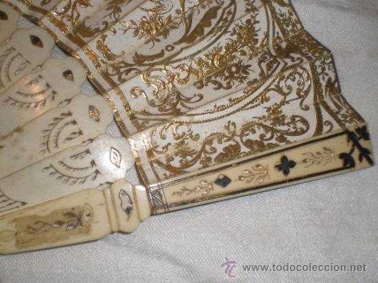 Antigüedades: abanico de hueso y oro isabelino - Foto 12 - 34126814