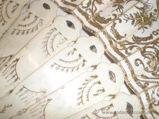 Antigüedades: abanico de hueso y oro isabelino - Foto 3 - 34126814