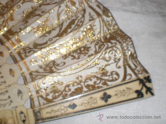 Antigüedades: abanico de hueso y oro isabelino - Foto 2 - 34126814