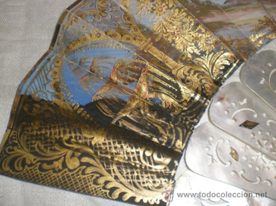 Antigüedades: abanico de nacar isalelino madreperla - Foto 14 - 34126746